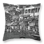 The Holy Ganges - Paint Bw Throw Pillow