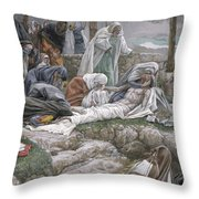The Holy Virgin Receives The Body Of Jesus Throw Pillow by Tissot