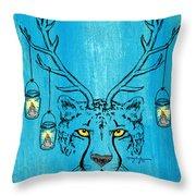 The Horned Cheetah Throw Pillow
