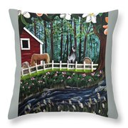 The Horse Farm Throw Pillow