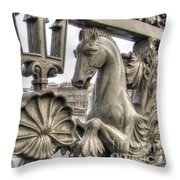 The Horse On The Bridge Throw Pillow