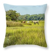 The Horses Of Cumberland Island Throw Pillow