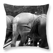 The Horses Of Mackinac Island Michigan 03 Bw Throw Pillow