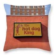 The Hot Dog King Throw Pillow