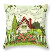 The House At The End Of Storybook Lane Throw Pillow
