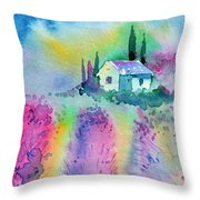 The House By The Lavender Field Throw Pillow