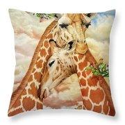 The Hug - Giraffes Throw Pillow