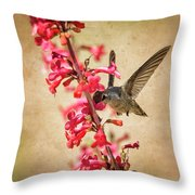 The Hummingbird And The Spring Flowers  Throw Pillow