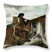 The Hunter And His Dogs Throw Pillow by Winslow Homer