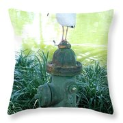The Hydrant Bird Throw Pillow