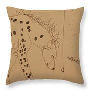 The Hyena Meets The Fish Throw Pillow