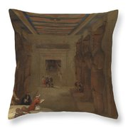 The Hypostyle Hall Of The Great Temple At Abu Simbel Egypt Throw Pillow