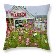 The Ice Cream Store On Bearskin Neck Throw Pillow