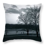 The Ice Skaters...kirby Park Pond Kingston Pa. Throw Pillow