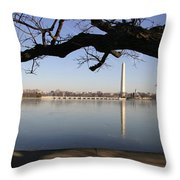The Iced-over Tidal Basin In Mid-winter Throw Pillow