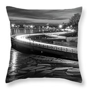 The Icy Charles River At Night Boston Ma Cambridge Black And White Throw Pillow