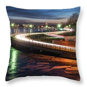 The Icy Charles River At Night Boston Ma Cambridge Throw Pillow
