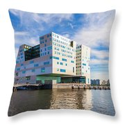 The Ij-dock In Amsterdam  Throw Pillow