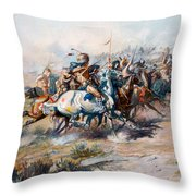 The Indian Encirclement Of General Custer At The Battle Of The Little Big Horn Throw Pillow