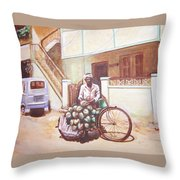 The Indian Tendor-coconut Vendor Throw Pillow