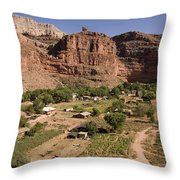 The Indian Village Of Supai Sits Throw Pillow