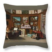 The Interior Of A Picture Gallery With Connoisseurs Admiring Paintings Throw Pillow