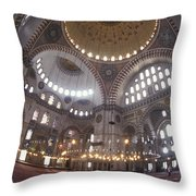 The Interior Of The Suleymaniye Mosque Throw Pillow