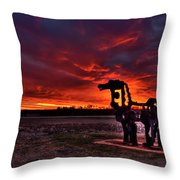 The Iron Horse Red Sky Sunset Throw Pillow