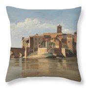 The Island And Bridge Of San Bartolomeo - Rome Throw Pillow