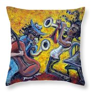 The Jazz Trio Throw Pillow