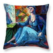The Jeans Girl. 20 Years Later Throw Pillow by Elisheva Nesis