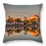 The Jefferson Memorial And Cherry Trees In Bloom Throw Pillow