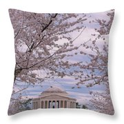 The Jefferson Memorial Attracts Large Crowds At The Cherry Blossom Festival Throw Pillow
