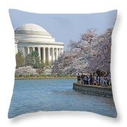 The Jefferson Memorial With Cherry Blossoms And A Lot Of People Throw Pillow