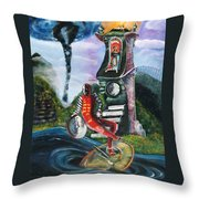 The Jester Of Time Throw Pillow