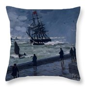The Jetty At Le Havre In Bad Weather Throw Pillow