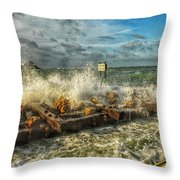 The Jetty Storm Throw Pillow