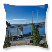 The John O'connell Bridge Is A Cable-stayed Bridge Over The Sitk Throw Pillow