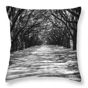 Live Oaks Lane With Shadows - Black And White Throw Pillow