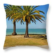 The Joy Of Sea And Palms Throw Pillow