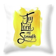 The Joy Of The Lord - Yellow Throw Pillow by Shevon Johnson