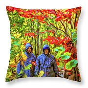 The Joys Of Autumn Camping - Paint Throw Pillow
