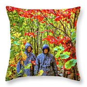 The Joys Of Autumn Camping Throw Pillow