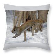 The Jumping American Red Squirrel Throw Pillow