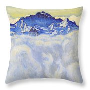 The Jung Frau Above A Sea Of Mist Throw Pillow