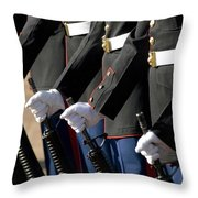 The Kaneohe Rifle Team Stands At Parade Throw Pillow
