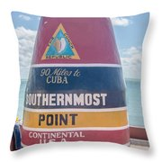 The Key West Florida Buoy Sign Marking The Southernmost Point On Throw Pillow