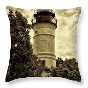 The Key West Lighthouse In Sepia Throw Pillow