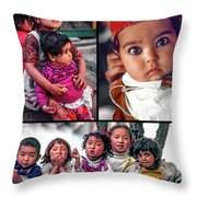 The Kids Of India Collage Throw Pillow