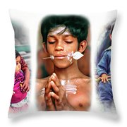 The Kids Of India Triptych Throw Pillow